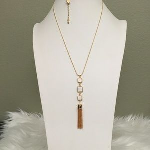 Long, gold overlay fashion necklace